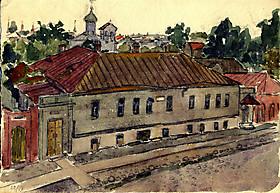 Рисунки и картины А.Кроненбергса. Домик Пушкина в Пскове