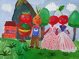 Полина Кравцова, 9 лет, рисунок «Чиполлино»