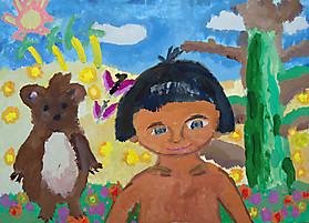 Арина Синицына, 8 лет, рисунок «Маугли»