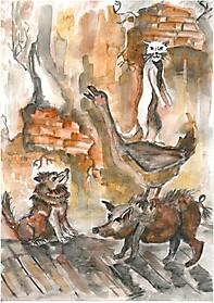 «Иллюстрация к рассказу А.П.Чехова «Каштанка» (автор - Богдан Андриец, 10 лет, техника -  акварель)
