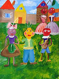 Роя Гурбанова, 8 лет, рисунок «Чиполлино и друзья»