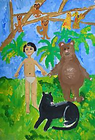Евангелина Комкова, 8 лет, рисунок «Маугли»