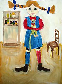 Ирина Лебедева, 8 лет, рисунок «Пеппи длинный чулок»