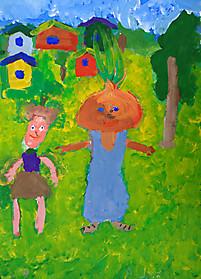 Артем Еловенко, 8 лет, рисунок «Чиполлино и Редисочка»