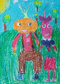 Вера Пирог, 6 лет, рисунок «Чиполлино и Редисочка»